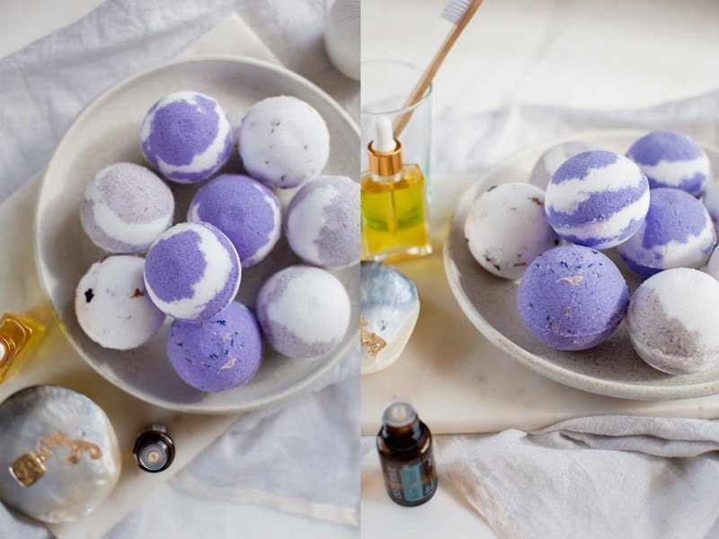 Finished shot of coloured homemade bath bombs looking just perfect!