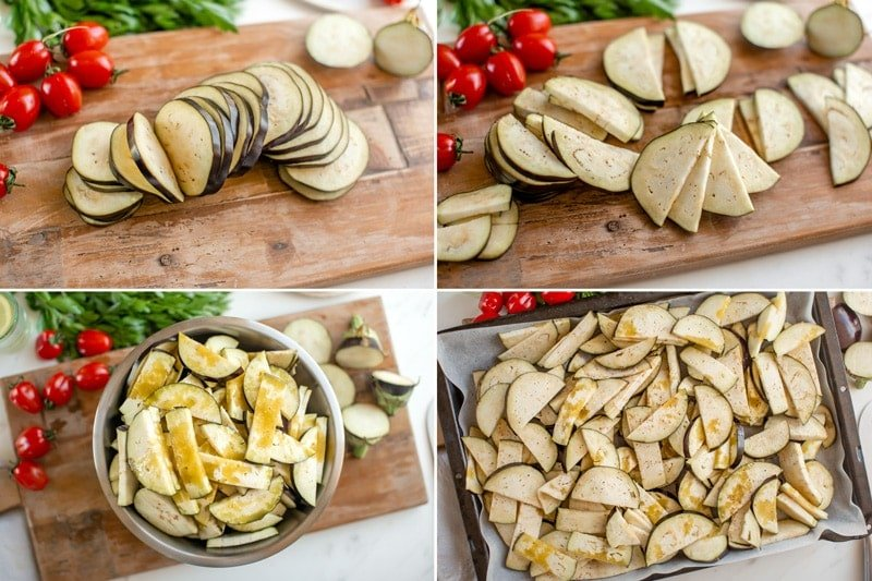 Step by step showing how to cut and prepare eggplant - first into rounds, then into half moons, toss with oil, transfer to a baking tray