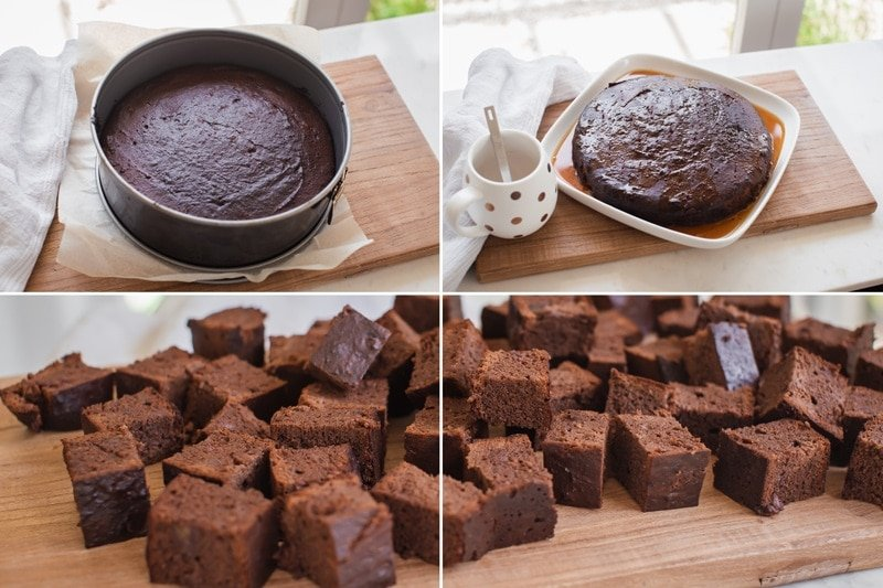 Series of images showing how to soak the cake in syrup then cut into cubes ready to make trifle