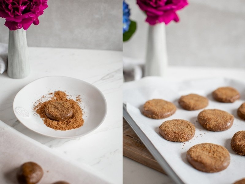 Images showing rolled cookie dough being dusted in coconut sugar