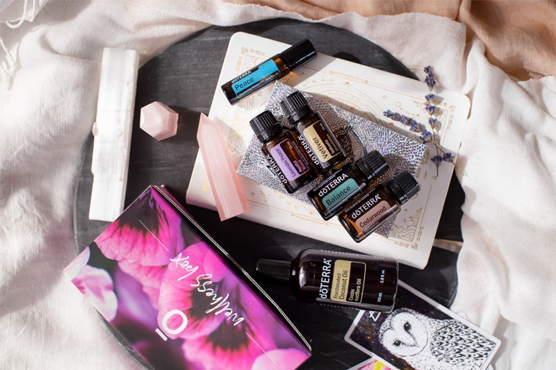doTERRA's Bedtime Bliss box as a flat lay