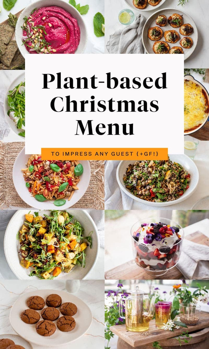 Vegan Christmas Menu collage of recipes