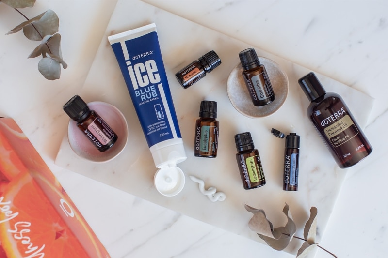 doTERRA's active sports box as a flat lay
