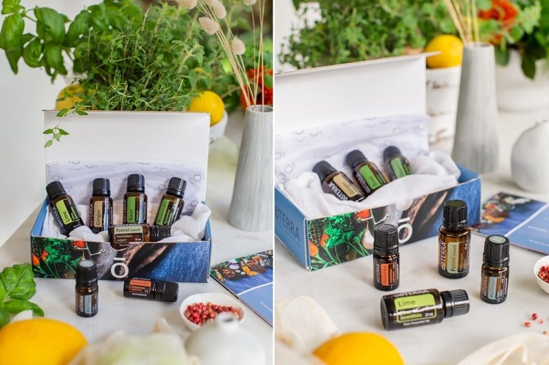 doTERRA's Gourmet Wellness Box as a flat lay