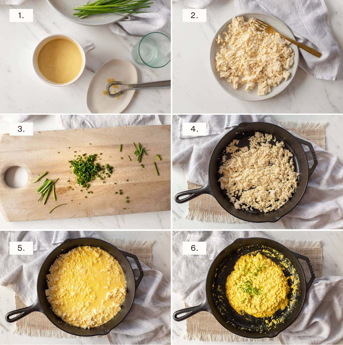 Step by step photos for making scrambled tofu