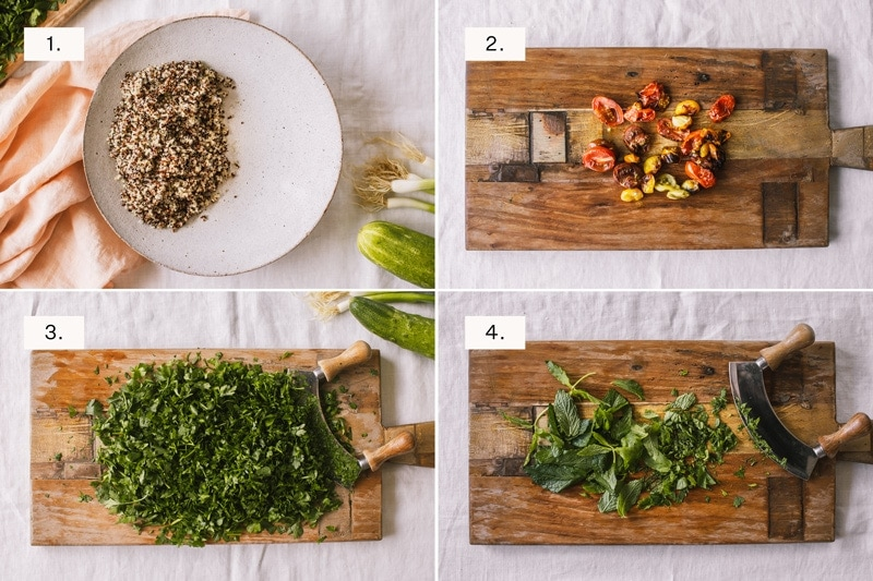 Step by step photos for making quinoa tabbouleh, one of two