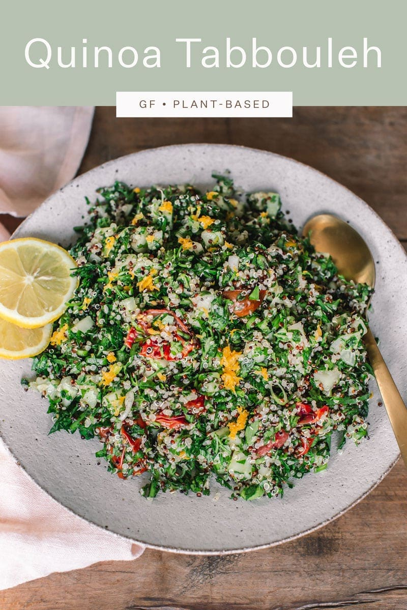A deliciously herby, lemony, garlicky Quinoa Tabbouleh, vegan and gluten free. The perfect healthy summer dinner. #tabbouleh #tabbouli #parsley #AscensionKitchen