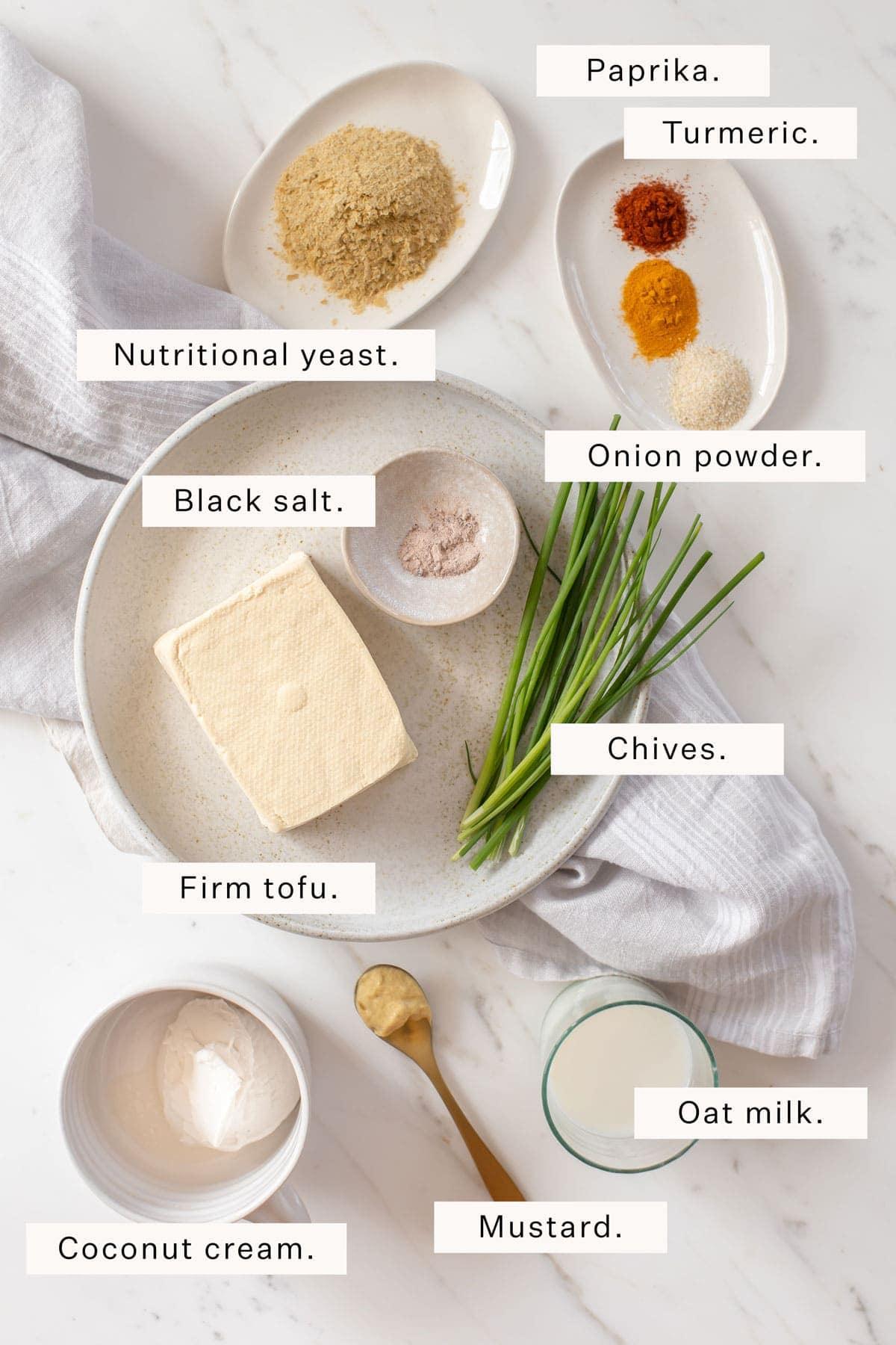 Flat lay of ingredients needed to make tofu scramble