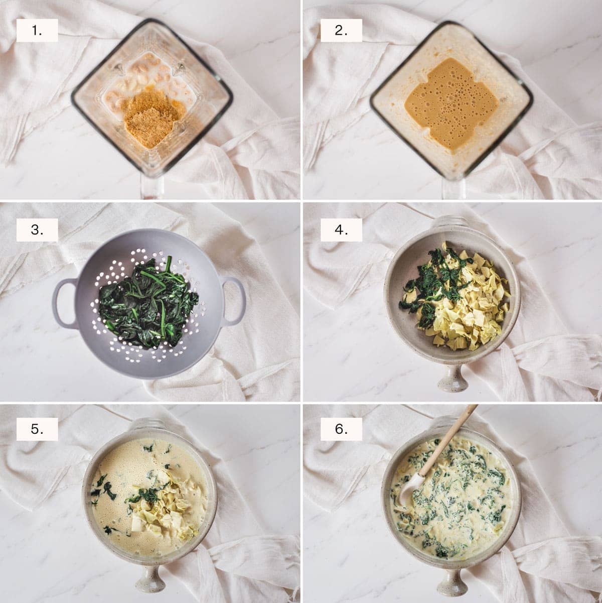 Step by step photos for making spinach artichoke dip