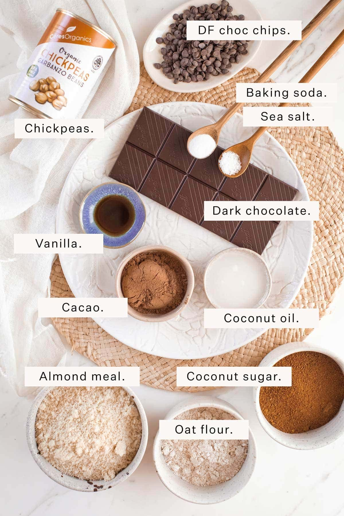 Flat lay of all the ingredients needed to make chickpea brownies