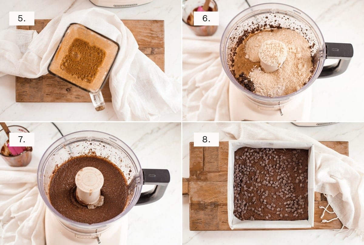 Step by step photos, 5 through to 8, showing how to make the brownies