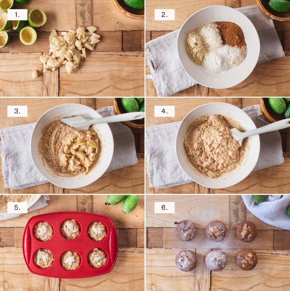 Step by step photos showing how to make the feijoa muffins