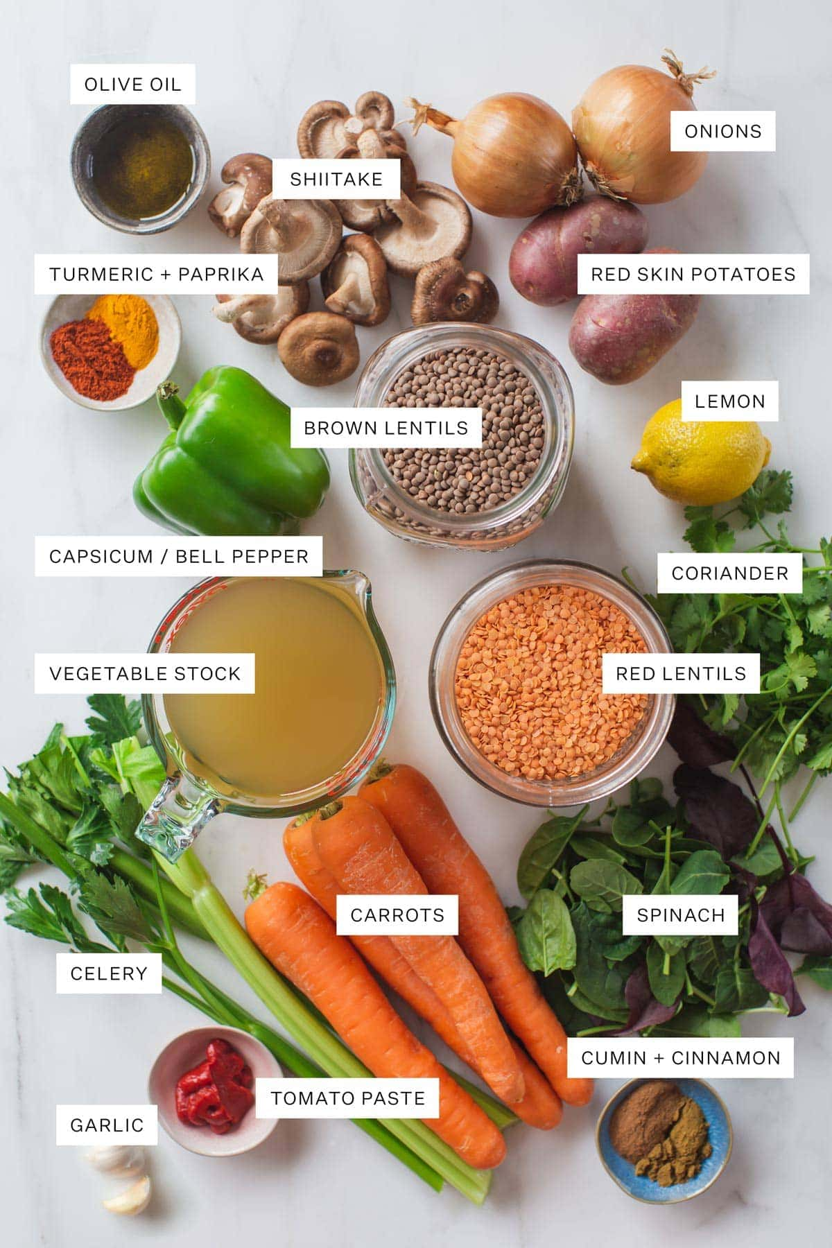 Flat lay of ingredients needed to make this recipe