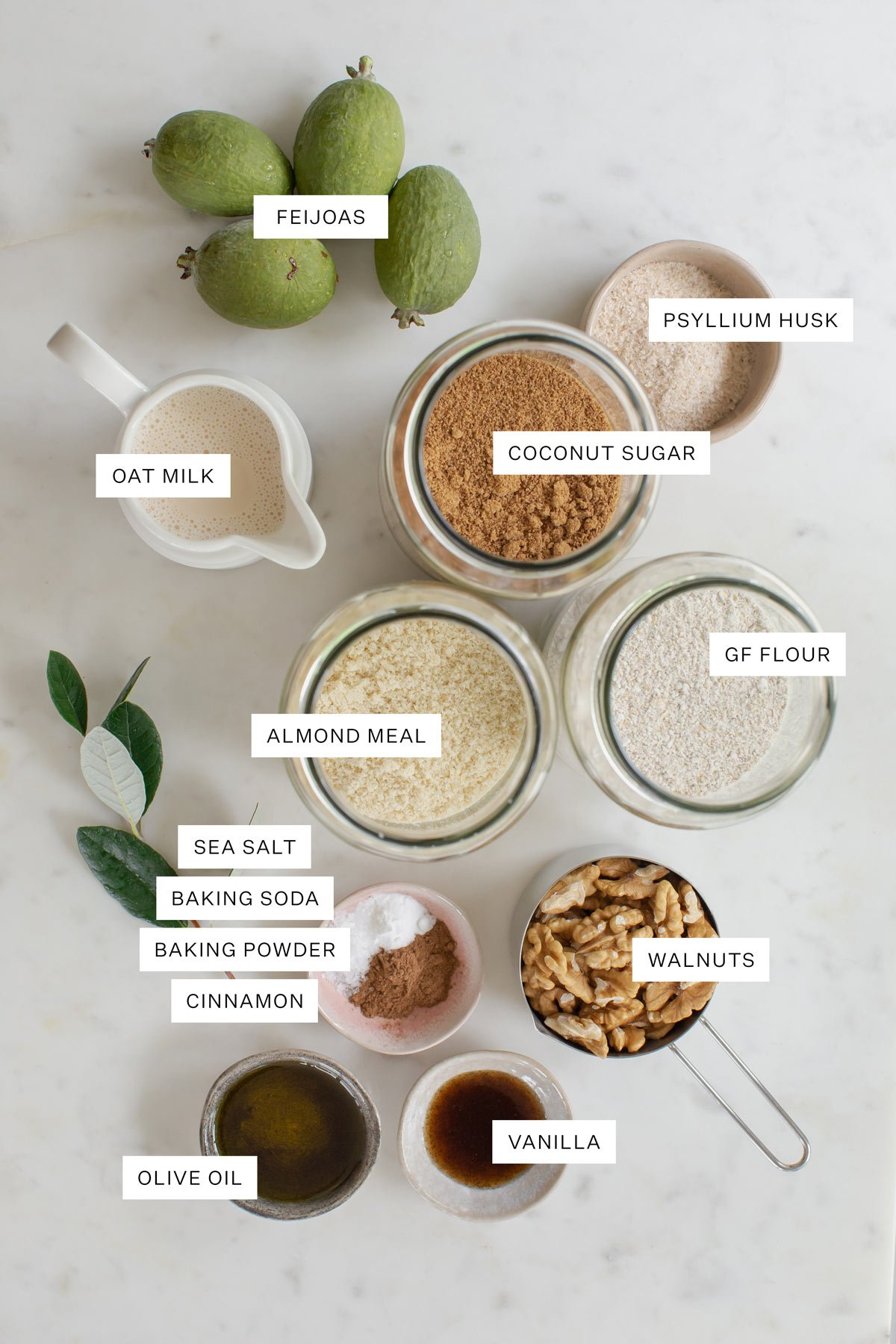 Flat lay of ingredients used to make this feijoa cake
