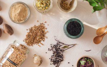 Flat lay of medicinal herbs to boost immunity