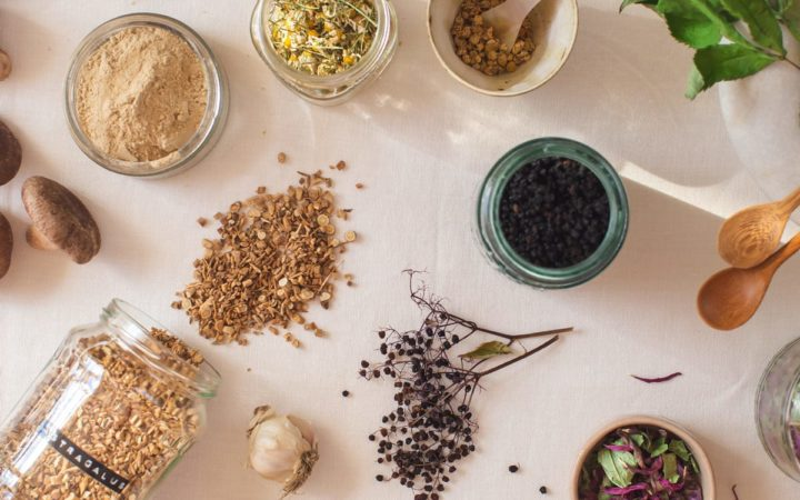 Flat lay of medicinal herbs to boost immunity