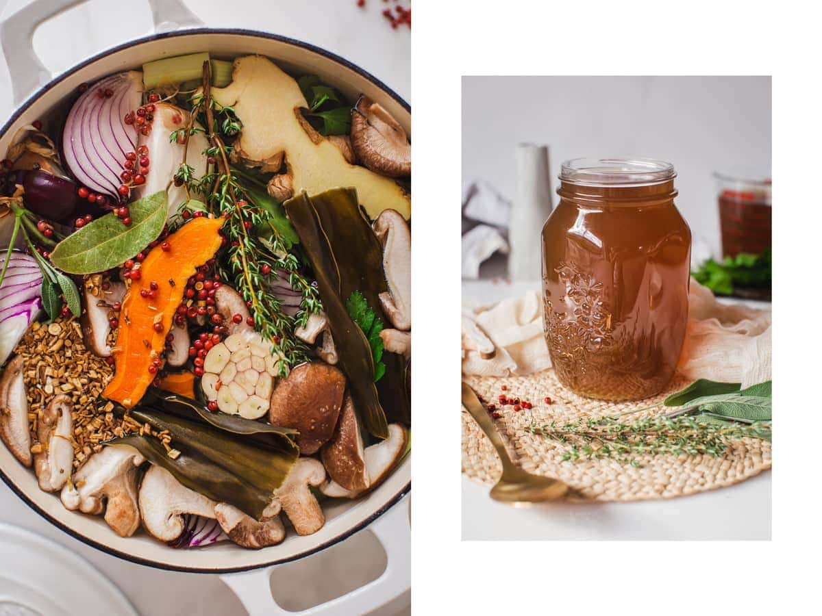 On the left, a close up of the broth ingredients in a stock pot, on the right, a large mason jar filled with homemade vegan broth.