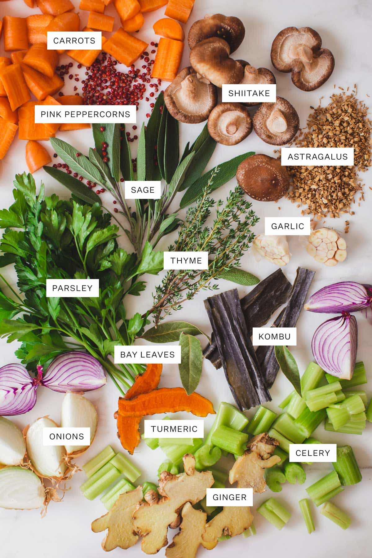 Flat lay of ingredients used to make a medicinal vegetable broth.