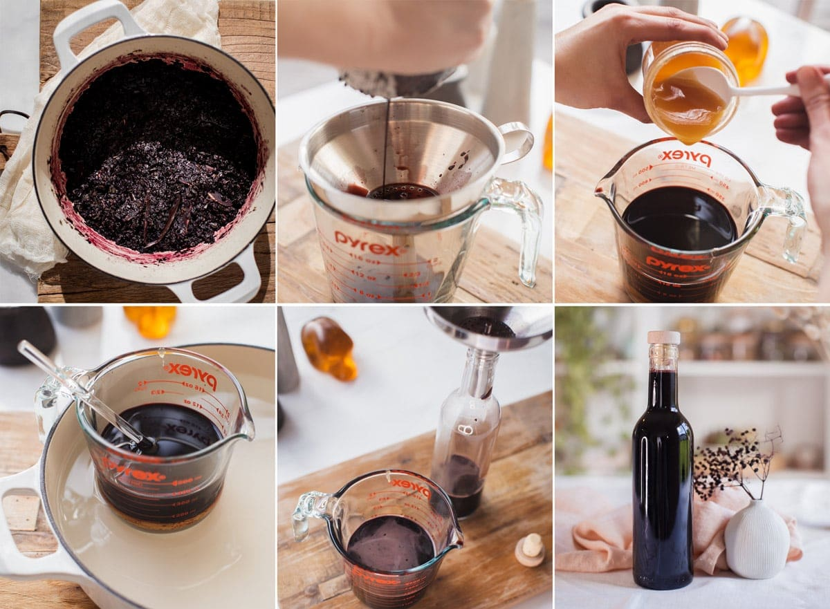 Series of 6 images showing how to make this recipe step by step - making a decoction, straining the liquid out, adding honey, gently heating the honey until it dissolves, pouring into a glass bottle, and the finished product.