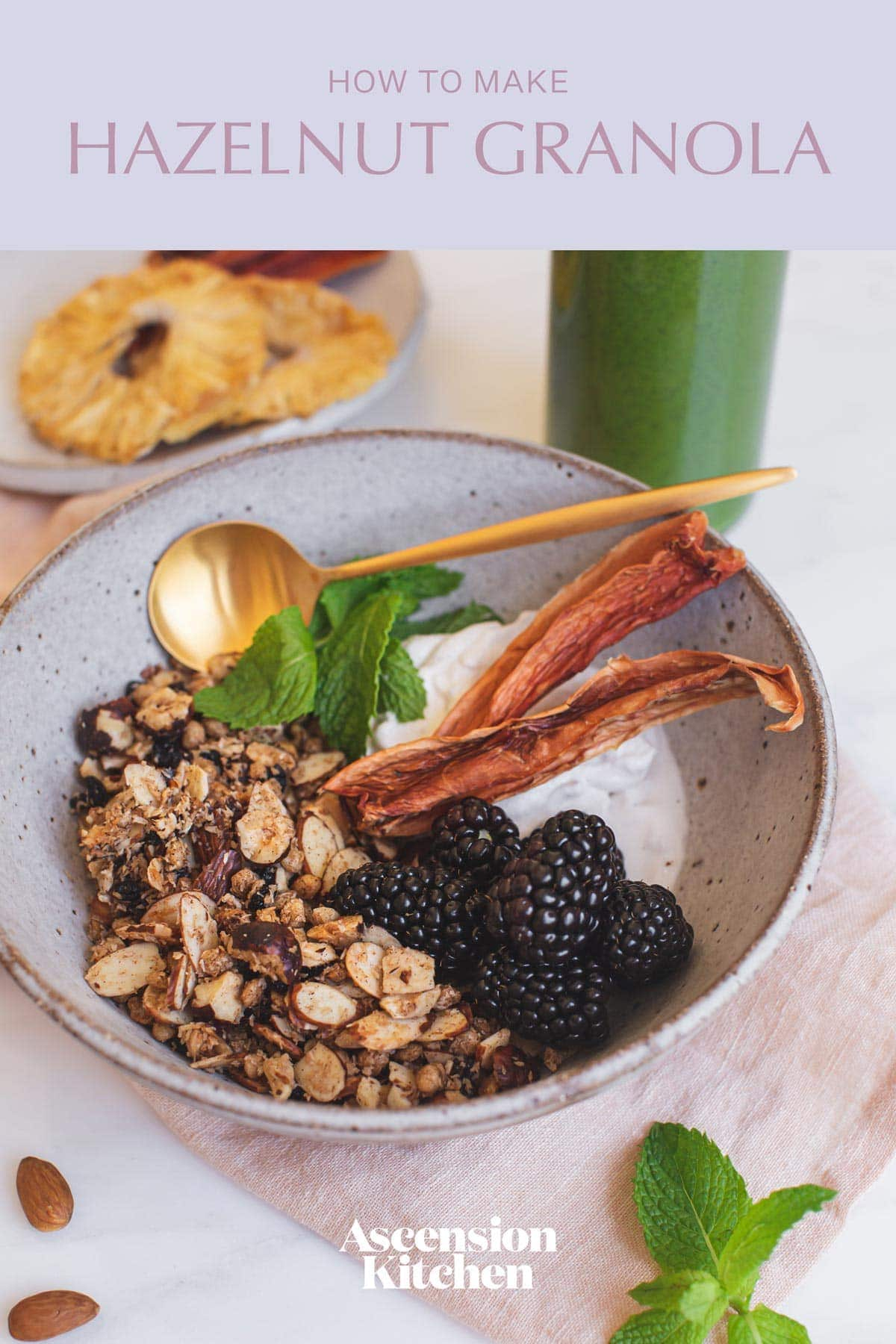 Styled bowl of granola and fruit with the recipe title printed over the top.