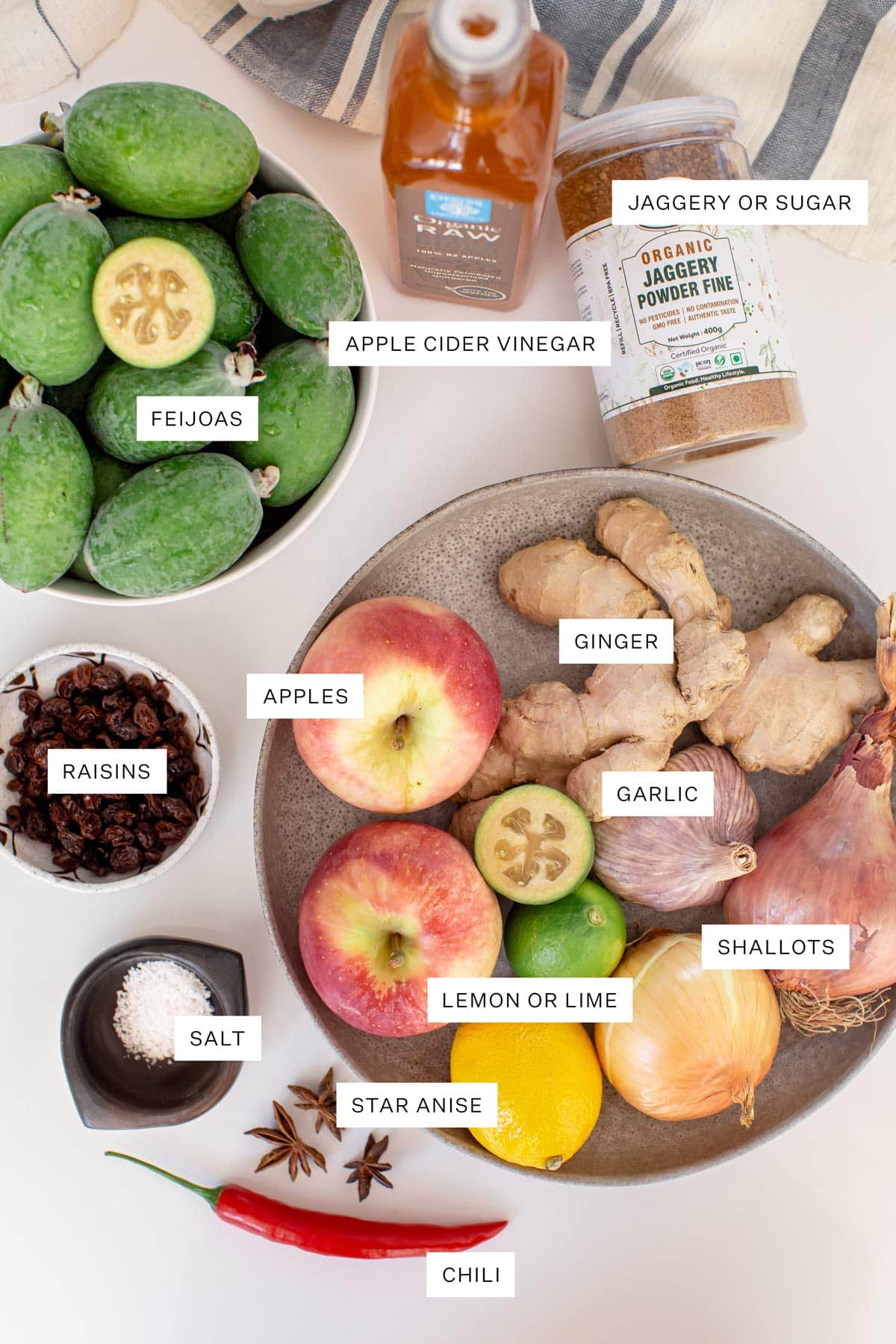 Flat lay of ingredients needed to make feijoa chutney - including feijoas, sugar, vinegar, apples, raisins and spices