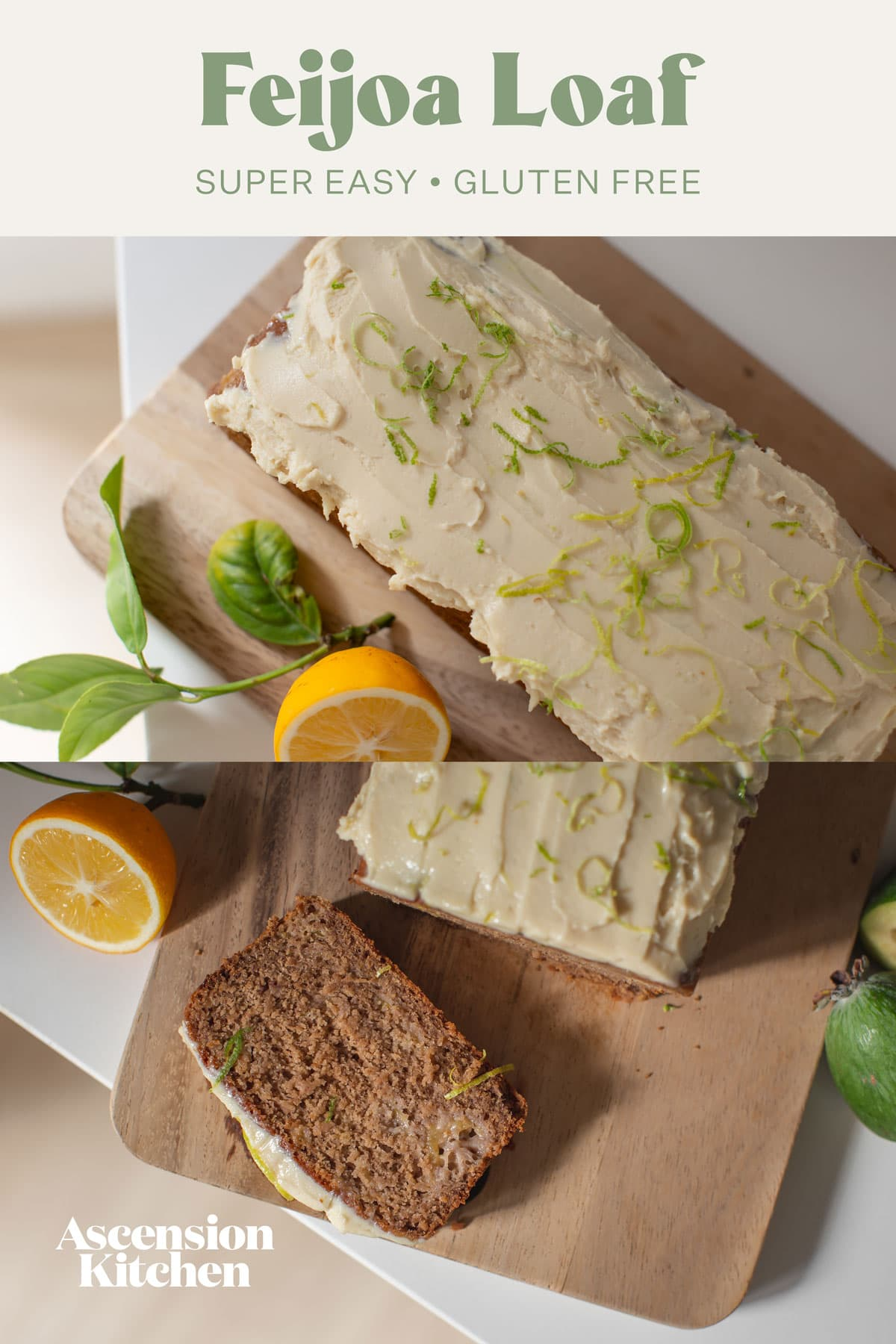 A pinterest image to showcase this recipe - there are two shots of the loaf, one whole, one sliced, with the recipe title printed over the top.